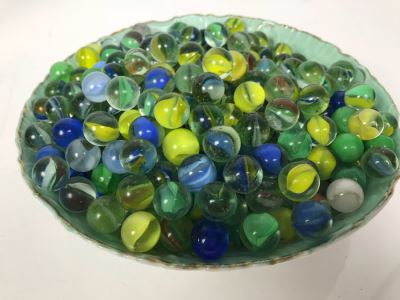Wheelock Dresden Bowl With Painting Of Tent City In Coronado Beach, CA Filled With Vintage Marbles Collection