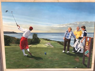 Large 48' X 36' Original Danny Day Oil Painting Of Torrey Pines Golf Course In La Jolla Featuring Golfing Legends Payne Stewart, Arnold Palmer And Jack Nicklaus - Estimate $12,000 - This Item Has A Reserve
