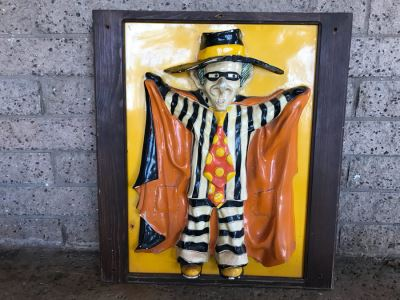 Vintage Signed 1972 McDonalds Restaraunt Hamburglar Painted Relief Fiberglass Wall Hanging By Alfred M Gordon Designs 24' X 27'