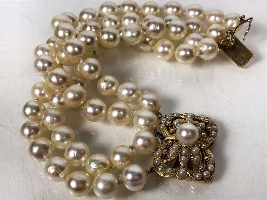 14k Yellow Gold Pearl Stand Bracelet 55.5g [Photo 1]