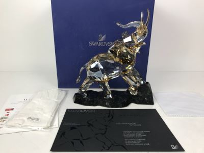 GRAND Swarovski Elephant Full-Colored On Cut Emerald Pearl Granite Base With Original Box And White Gloves Swarovski Crystal Soceity (SCS) Retails $1,690