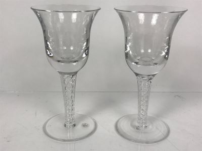 Pair Of Cumbria Crystal Hand Crafted Luxury English Stemware Glasses