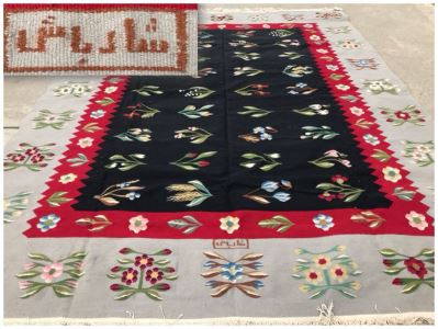 Signed Vintage Persian Kilim Hand Knotted Wool Rug In Floral Pattern 7'5' X 10'