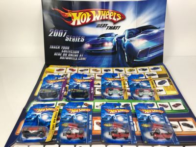 Hot Wheels Poster With (8) New Old Stock Hot Wheels Cars