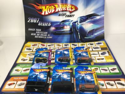 Hot Wheels Poster With (6) New Old Stock Hot Wheels Cars