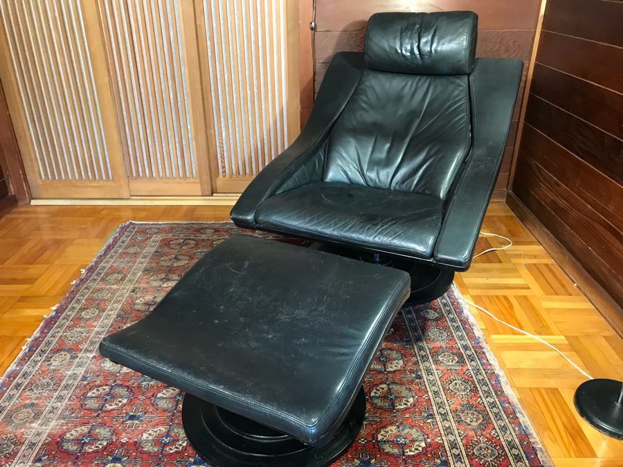 NELO Swedish Leather Mid-Century Modern Swivel Lounge Armchair With Ottoman [Photo 1]