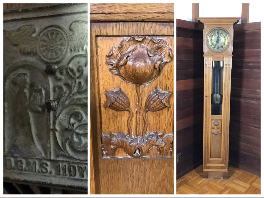 Stunning Arts & Crafts Carved Wooden Grandfather Case Clock With D.G.M.S. Clock Movement - Was Working May Need Servicing [Photo 1]