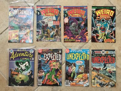 (8) Vintage Comic Books: Marvel DC Comics Werewolf By Night, Weird Wonder Tales, Weird Adventure Comics, Unexpected
