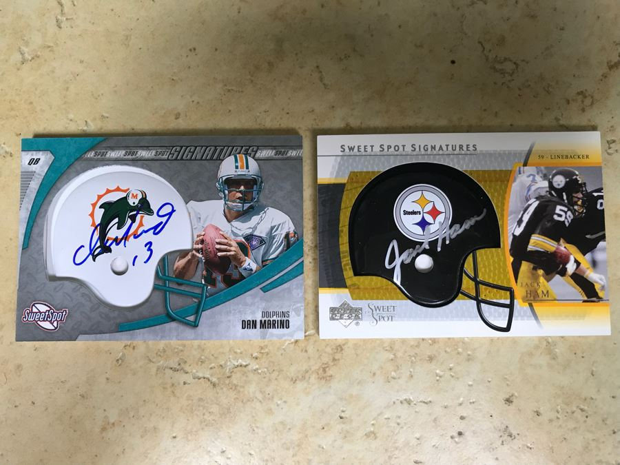 Pair Of Upper Deck Signed Football Cards Dan Marino And Jack Ham [Photo 1]
