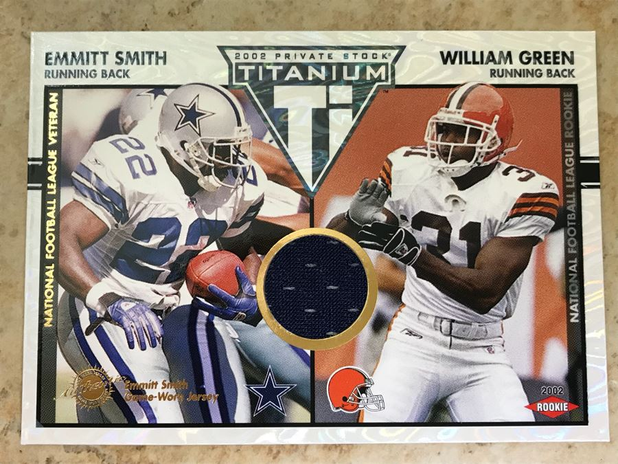 2002 Emmitt Smith Game Worn Jersey And William Green Rookie Card