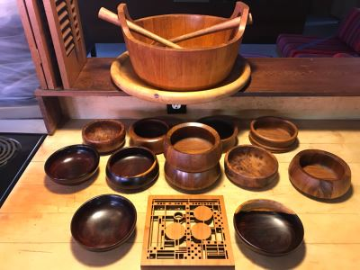 Large Wooden Salad Bowl With Wooden Spoons, Wooden Tray, (12) Carved Wooden Bowls (Some DANSK) And Frank Lloyd Wright Style Wooden Trivet