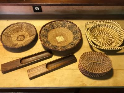 Various Native American Baskets With Pair Of DANSK Teak Mid-Century Modern Salad Servers