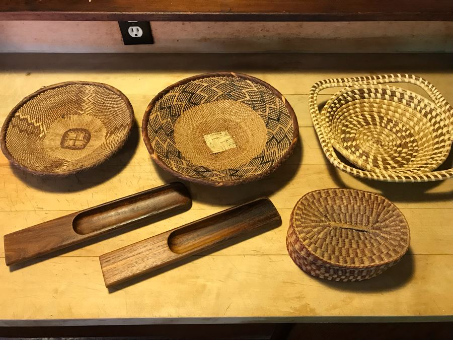 Various Native American Baskets With Pair Of DANSK Teak Mid-Century Modern Salad Servers [Photo 1]