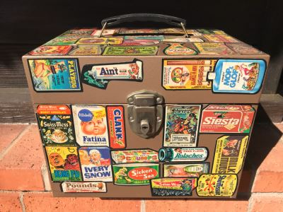 Vintage Metal Storage Box Decorated With MAD Magazine Stickers