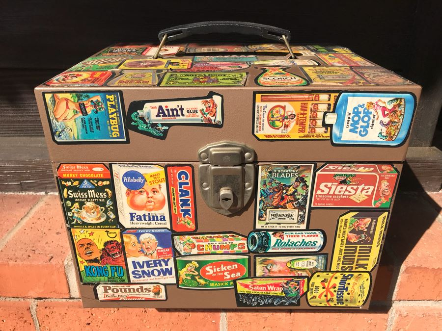 Vintage Metal Storage Box Decorated With MAD Magazine Stickers [Photo 1]