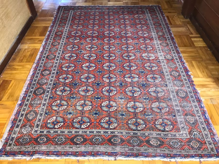 Vintage Hand Knotted Persian Rug 7'1' X 4'9'  [Photo 1]