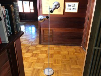 Mid-Century Modern Adjustable Chrome 2-Light Floor Lamp