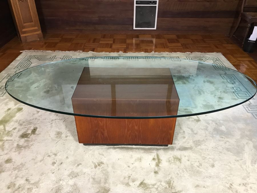 Wooden Coffee Table Base With Oval 3/4' Glass Top 28'W X 18'D X 18'H  [Photo 1]