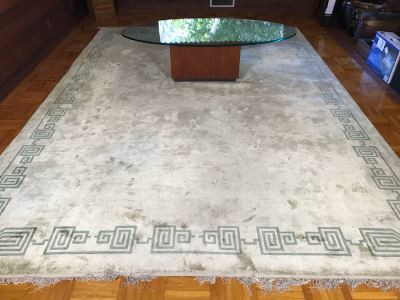 Large Silk Asian Geometric Pattern Light Green Area Rug 13' 8' X 9' 11'