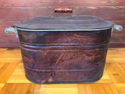 Large Vintage Copper Boiler Canning Wash Tub With Lid And Handles
