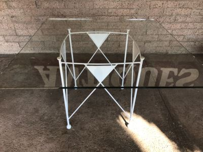 Custom Made White Metal Table Designed To Match Frank Lloyd Wright Chairs Sold In Previous Sale