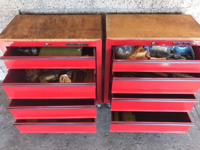 Pair Of Rolling Task Force Tool Boxes On Casters Filled With Tools - See Photos