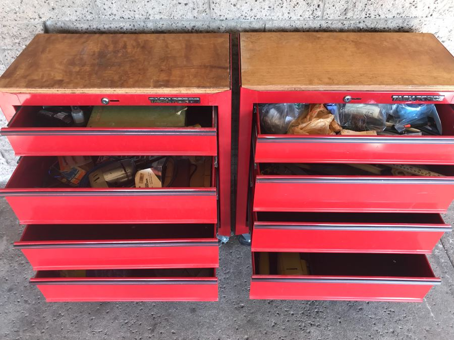 Pair Of Rolling Task Force Tool Boxes On Casters Filled With Tools - See Photos [Photo 1]