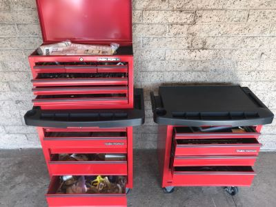 Pair Of Rolling Task Force Tool Boxes On Casters Filled With Tools Plus Upper Tool Box Filled With Tools - See Photos For Tools
