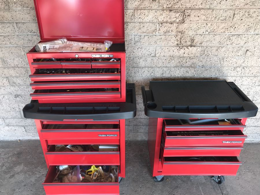 Pair Of Rolling Task Force Tool Boxes On Casters Filled With Tools Plus Upper Tool Box Filled With Tools - See Photos For Tools [Photo 1]
