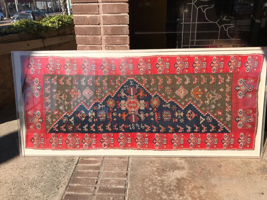 Antique 1896 Hand Knotted Rug With Geometric Patterns Encased In Acrylic Shadowbox Ready For Wall Hanging [Photo 1]