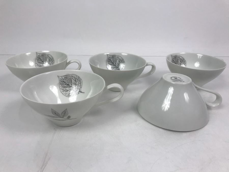 (5) Mid-Century Designer Raymond Loewy For Continental China Cups Shadow Leaf Pattern [Photo 1]