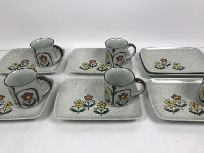 Set Of (5) Vintage Stoneware Luncheon Plate Sets With Coffee Cups And (2) Extra Plates
