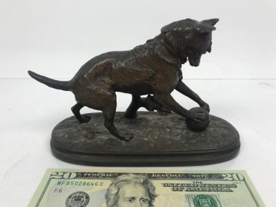 Signed Arthur Waagen (German, 1833–1898) Bronze Statue Of Dog Playing With A Ball Titled 'Chien Jouant Avec Une Boule' 6.3' X 9.3'