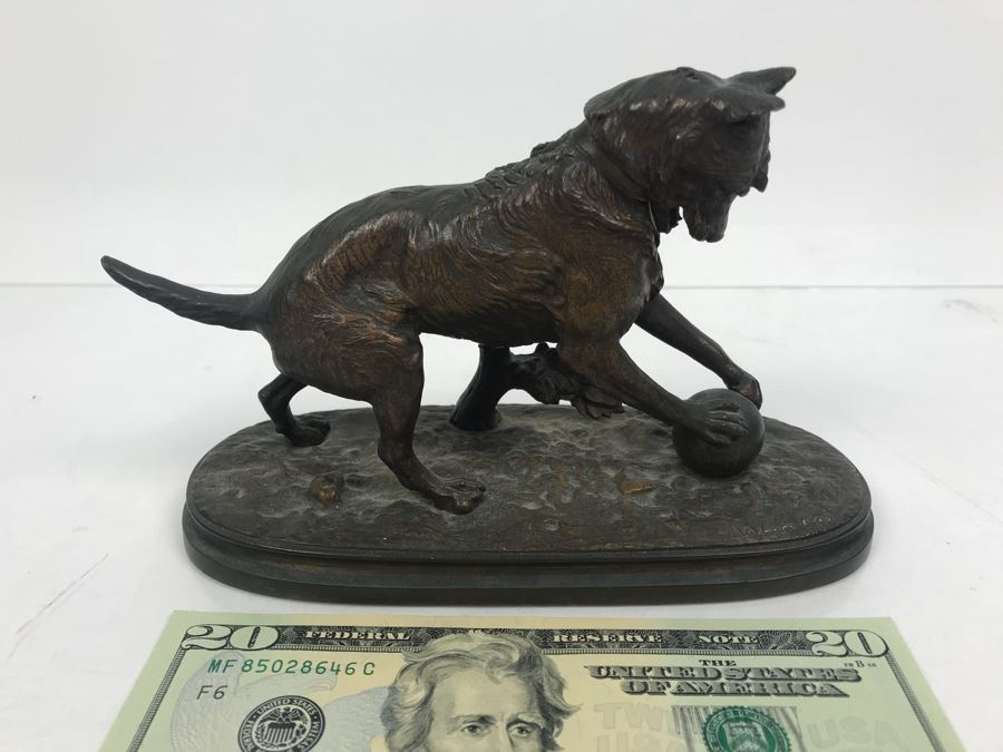 Signed Arthur Waagen (German, 1833–1898) Bronze Statue Of Dog Playing With A Ball Titled 'Chien Jouant Avec Une Boule' 6.3' X 9.3' [Photo 1]
