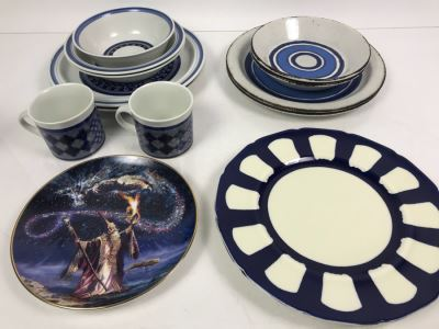 Collection Of Royal Doulton Lambethware Tangier And Stonehenge Plates, Cups, Bowls Plus Limited Edition Royal Doulton Collectible Plate Sorcerer's Spell By Myles Pinkney