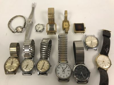 Collection Of Various Mens And Womens Watches And Watch Bands Including Mens Elgin Sportsman And Pair Of Waltham Watches