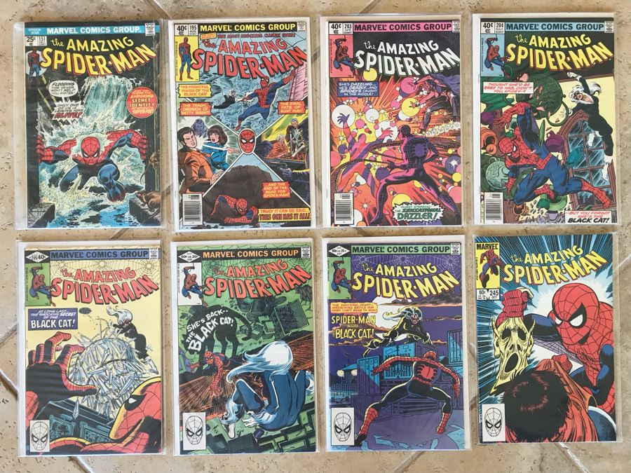 (8) Vintage Marvel The Amazing Spider-Man Comic Books: #151, #195, #203, #204, #205, #226, #227, #245 [Photo 1]