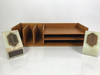 Teak Wooden Office Files Paper Organizer With Pair Of Genuine Onyx Stone Bookends