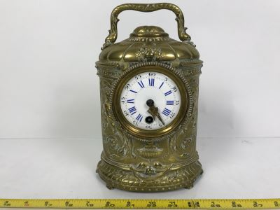 Stunning Vintage Brass Mechanical Carriage Clock Ornately Embossed Mantel Clock With Porcelain Dial Working