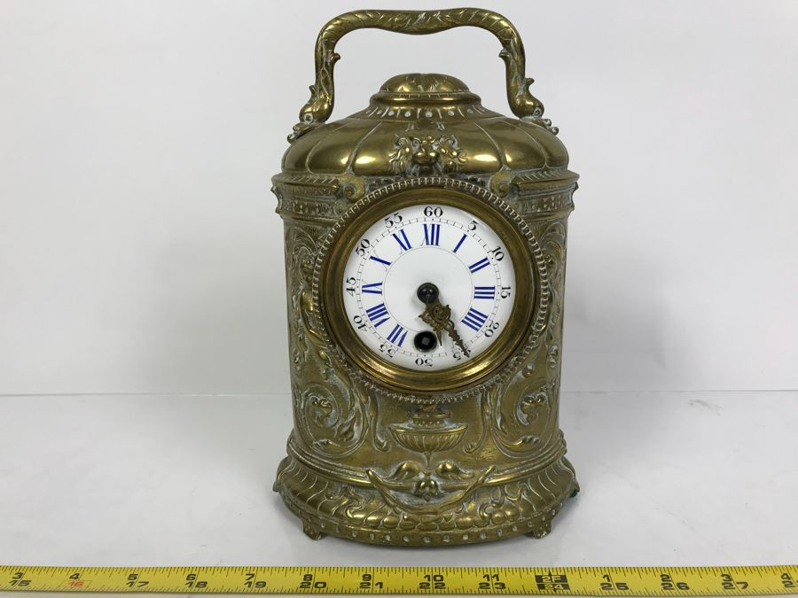 Stunning Vintage Brass Mechanical Carriage Clock Ornately Embossed Mantel Clock With Porcelain Dial Working [Photo 1]