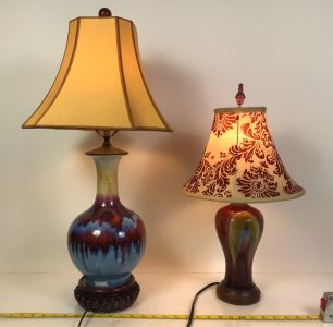 Pair Of Pottery Table Lamps With Shades