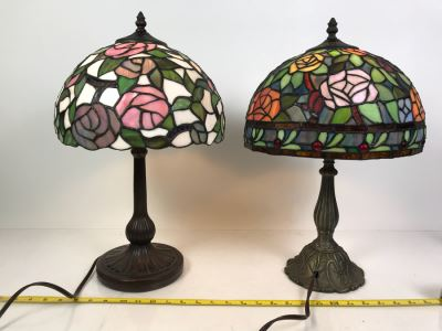 Pair Of Contemporary Stained Glass Shade Table Lamps With Metal Bases