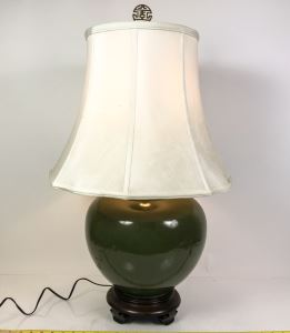 Large Asian Green Pottery Table Lamp