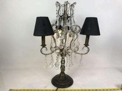 3-Light Candelabra Crystal Strand Table Lamp
