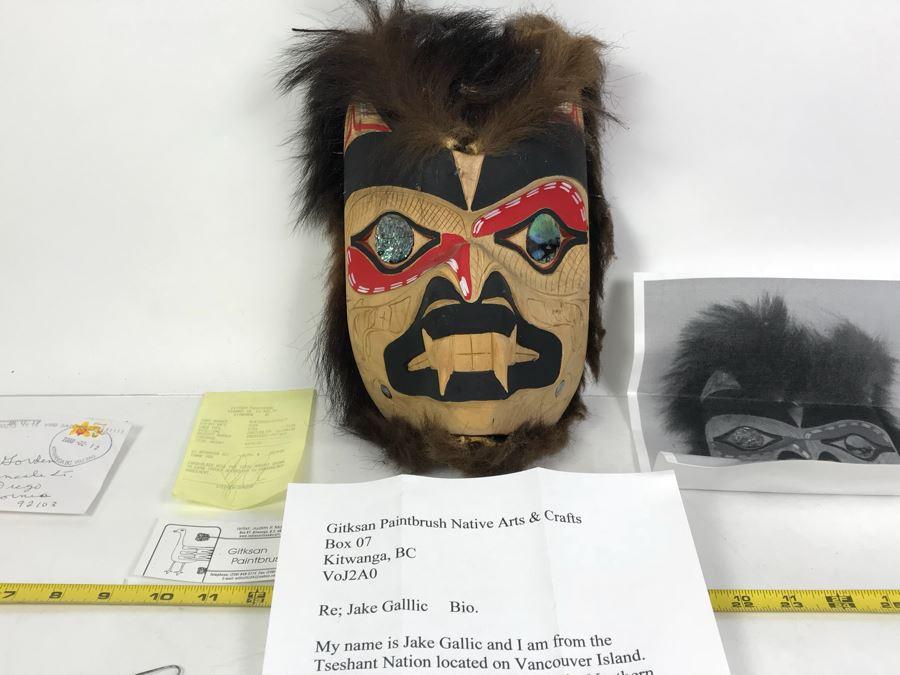Pacific Northwest Native American Wooden Carved Bear Mask By Jake Gallic Tseshant Nation Vancouver Island Gitksan Paintbrush [Photo 1]