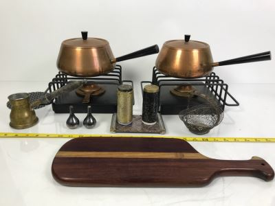 Pair Of Mid-Century Copper Fondue Sets, Dansk Denmark Vases, Industrial Salt & Pepper Shakers, Vintage Ladle, Wire Basket And Cutting Board