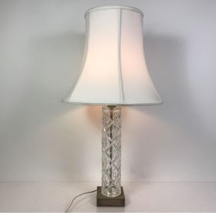 Vintage Etched Crystal Glass Table Lamp With Shade