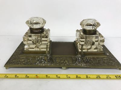 Vintage Brass Inkwell And Pen Holder With Glass Inkwell Bottles (Note That One Bottle Has Cracks In Glass)