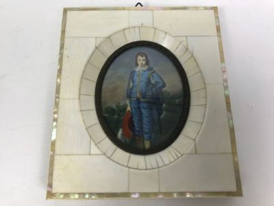 Antique Miniature Hand Painted Portrait Blue Boy (Jonathan Buttall) Signed Gainsborough
