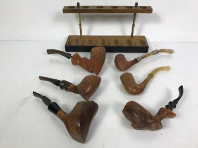 (6) Vintage Wooden Smoking Pipes With Wooden Display Stand Some Pipes Hand Made In Denmark